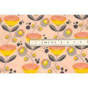Coupon tissu jersey viscose fleurs Müller - Jaune et rose - Lillestoff ® - 130 Lillestoff ® - 4