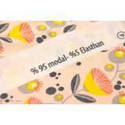 Coupon tissu jersey viscose fleurs Müller - Jaune et rose - Lillestoff ® - 130 Lillestoff ® - 7
