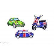 Écusson scooter Vespa anglais - Bleu et rouge - Thermocollant - 2