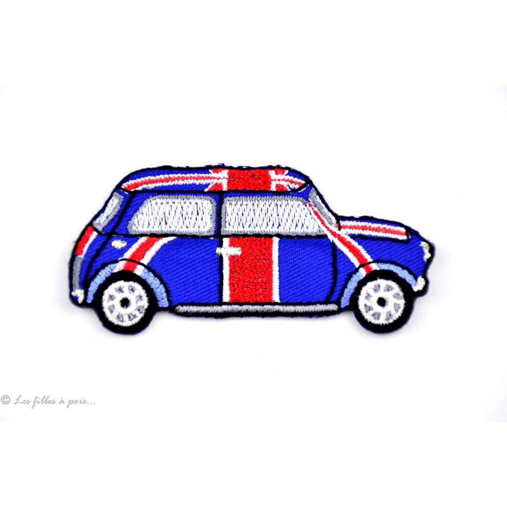 Écusson Austin Mini Cooper - Bleu et rouge - Thermocollant
