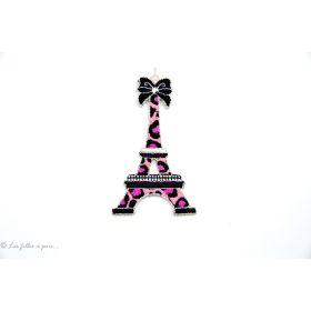 Écusson tour Eiffel léopard - Rose - Thermocollant