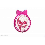 Écusson tête de mort chic - Rose fuchsia - Thermocollant