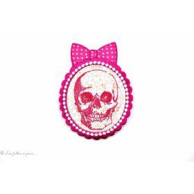 Écusson tête de mort chic - Rose fuchsia - Thermocollant - 1