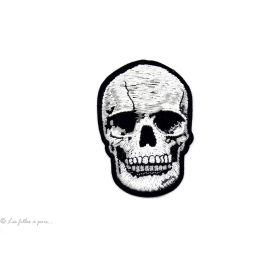 Écusson tête de mort - Gris - Thermocollant