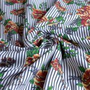 Tissu jersey coton motif rayures et roses - Blanc, noir et tons orangés - Bio - Lillestoff ® Lillestoff ® - 3