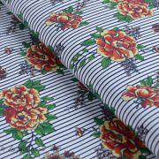 Tissu jersey coton motif rayures et roses - Blanc, noir et tons orangés - Bio - Lillestoff ® Lillestoff ® - 1