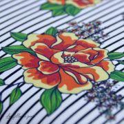 Tissu jersey coton motif rayures et roses - Blanc, noir et tons orangés - Bio - Lillestoff ® Lillestoff ® - 2
