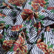 Tissu jersey coton motif rayures et roses - Blanc, noir et tons orangés - Bio - Lillestoff ® Lillestoff ® - 5