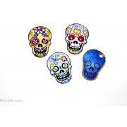 Écusson tête de mort mexicaine -Bleu jean - Thermocollant