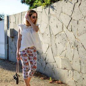 Tissu jersey coton motif rayures et roses - Blanc, noir et tons orangés - Bio - Lillestoff ®