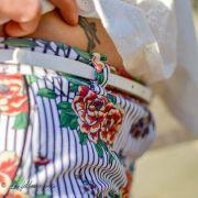 Tissu jersey coton motif rayures et roses - Blanc, noir et tons orangés - Bio - Lillestoff ® Lillestoff ® - 9