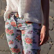 Tissu jersey coton motif rayures et roses - Blanc, noir et tons orangés - Bio - Lillestoff ® Lillestoff ® - 10