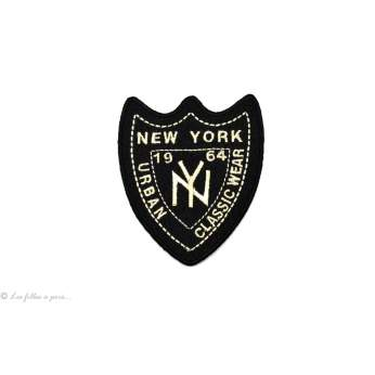 Écusson New york blason - Noir et blanc - Thermocollant