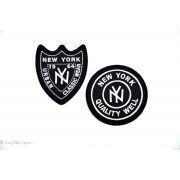 Écusson New york rond - Noir et blanc - Thermocollant