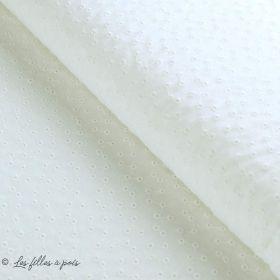 Tissu coton Broderie anglaise motif texturé - Blanc cassé