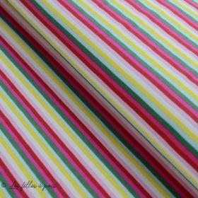 Tissu jersey motif rayure - Rose, rouge, vert et jaune