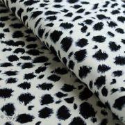 Tissu jersey viscose motif tâches esprit dalmatien - Blanc et noir