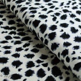 Tissu jersey viscose motif tâches esprit léopard - Blanc et noir
