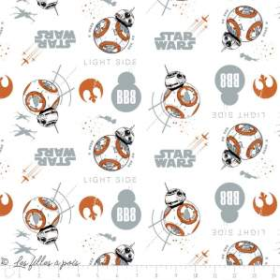 Tissu coton STAR WARS ™ BB8 - Blanc, orange et noir