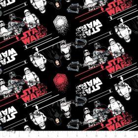 Tissu coton STAR WARS ™ Premier ordre - Noir, blanc et rouge