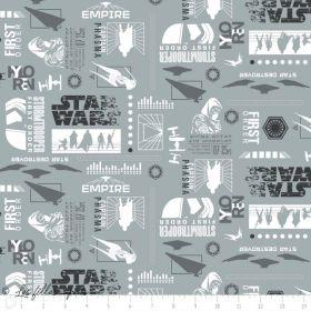 Tissu coton STAR WARS ™ - Gris, blanc et noir