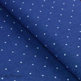 Tissu jeans stretch motif pois - Bleu