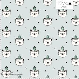 """Tissu jersey motif oursons """"Bear Feathers Blue"""" - Vert menthe et noir - Bio - Kimsa Design ® Kimsa Design ® - Tissus BIO - 1"""