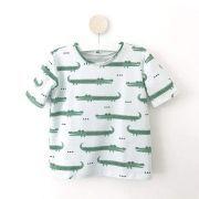 "Tissu jersey motif crocodiles ""Crocodile"" - Vert menthe et noir - Bio - Kimsa Design ® Kimsa Design ® - 3"