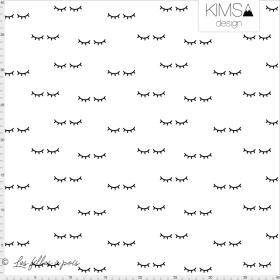 """Tissu jersey motif yeux fermés """"Sleepy Eyes"""" - Blanc et noir - Bio - Kimsa Design ®"""