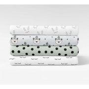 """Tissu jersey motif yeux fermés """"Sleepy Eyes"""" - Blanc et noir - Bio - Kimsa Design ® Kimsa Design ® - 7"""