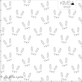 "Tissu jersey motif lapins ""Sleepy Bunny"" - Blanc et noir - Bio - Kimsa Design ®"