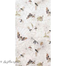 "Tissu coton motif Toile d'araignée et papillons ""The Gasthlies II"" - Blanc et nude - Henry Alexander ® Alexander HENRY Fabrics ®"