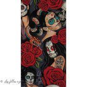 "Tissu coton motif tête mexicaine ""Nocturna"" - Noir et rouge - Henry Alexander ® Alexander HENRY Fabrics ® - Tissus - 2"