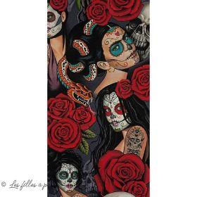 """Tissu coton motif tête mexicaine """"Nocturna"""" - Noir et rouge - Henry Alexander ®"""