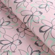 Tissu french terry coton motif fleur - Oeko-Tex ® Autres marques - 10