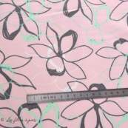 Tissu french terry coton motif fleur - Oeko-Tex ®