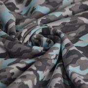Tissu french terry coton motif camouflage - Gris et bleu - Oeko-Tex ®