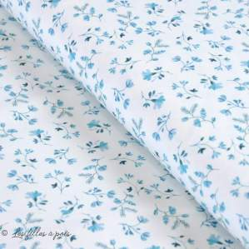 "Tissu jersey coton motif fleurs ""Vintage Flowers"" - Blanc et bleu - Oeko-Tex ®"