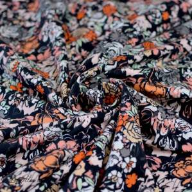 "Tissu jersey motif fleurs ""Fusion Silkroad"" - Noir, blanc et orange - Oekotex - AGF ®"