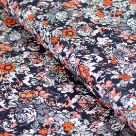 "Tissu popeline de coton motif fleurs ""Fusion Silkroad"" - Noir, blanc et orange - Oekotex - AGF ®"