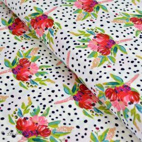 "Tissu popeline de coton motif pois et fleurs ""Bloomsbury"" de Bari J - Oekotex - AGF ®"
