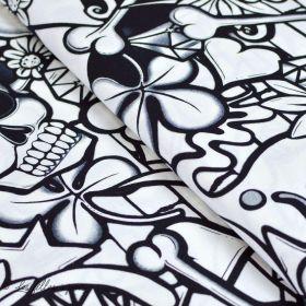 "Tissu coton motif tête de mort ""Street Skull"" - Noir et Blanc - Henry Alexander ®"