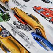 """Tissu coton motif hot rod """"Chopped Channeled"""" - Multicolore - Henry Alexander ®"""