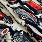 "Tissu coton motif hot rod ""Shadow rods"" - Noir et rouge - Henry Alexander ®"