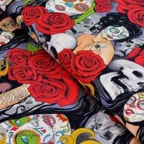 """Tissu coton motif tête mexicaine """"Nocturna"""" - Noir et rouge - Henry Alexander ® Alexander HENRY Fabrics ® - 1"""