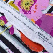 """Tissu jersey motif coquelicots esprit """"Skopelos"""" - Blanc, noir et orange - Oekotex ® - AGF ®"""