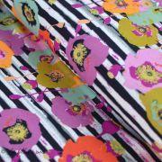 """Tissu jersey motif coquelicots esprit """"Skopelos"""" Spices Fusion - Blanc, noir et orange - Oekotex - AGF ®"""