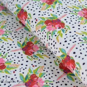 "Tissu jersey motif pois et fleurs ""Bloomsbury"" de Bari J - Oekotex - AGF ®"