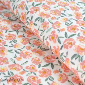 "Tissu jersey motif fleurs ""The Open Road"" de Bonnie Christine - Ecru et rose clair - Oekotex - AGF ®"