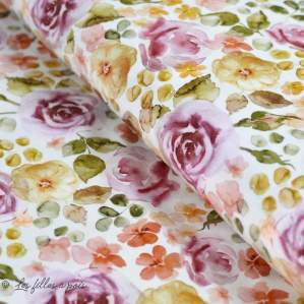 "Tissu jersey coton motif soleil ""English Garden"" - Tons rose - Oeko-Tex ® Family Fabrics ® - 1"